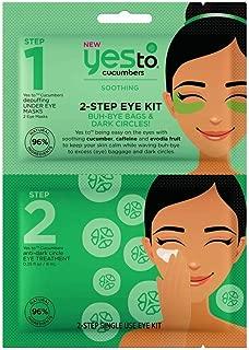 Yes To Cucumbers 2-Step Eye Kit - Single Use | Step 1 - Cucumbers Depuffing Under Eye Mask | Step 2 - Cucumbers Anti-Dark Circle Eye Treatment |For Brighter Looking Eyes