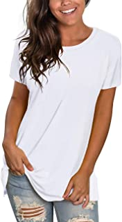 NSQTBA Womens T Shirts Short Sleeve Crewneck Tees Plain Workout Tops Loose Fit