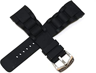28MM Black Silicone Watch Strap Band, Gunmetal Grey Stainless Buckle Fits 46mm Commander Watch