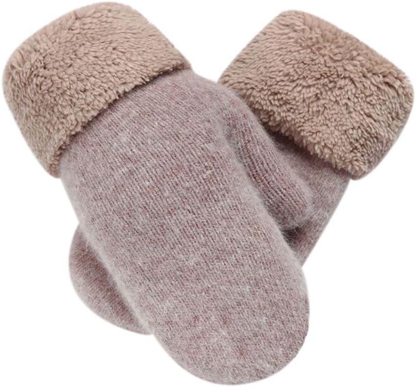 Panda Legends Warm Fingerless Gloves Woollen Mitten Lovely Winter Gloves for Girls,Khaki