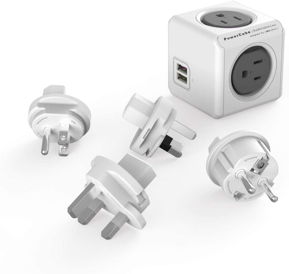 Travel Adapter Allocacoc PowerCube Rewirable sockets and 4 USB Limited time cheap SALENEW very popular! sale