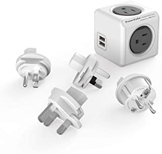 Travel Adapter, Allocacoc PowerCube Rewirable USB, 4 sockets and 2 USB Ports (TypeB sockets USB, Grey)