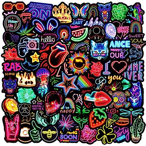 EUFFO Aufkleber Sticker Set 100 Stück Neon Decals Vintage Kleine Wasserfeste Vinyl Sticker für Laptop Fahrrad Motorrad Skateboard Helm Auto Koffer Stickerbomb Coole Deko Trippy Sticker