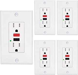 [5 Pack] BESTTEN 15Amp 125Volt Tamper-Resistant GFCI Receptacle Outlets, LED Indicator, Decor Wall Plates and Screws Included, ETL Certified, White