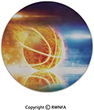 Quality Well Woven Barclay Round Area Rugs,Abstract Sports Background Burning Basketball with Digital Reflection Art Print 6' Diameter Blue Yellow,for Kids Room Bedroom Kitchen