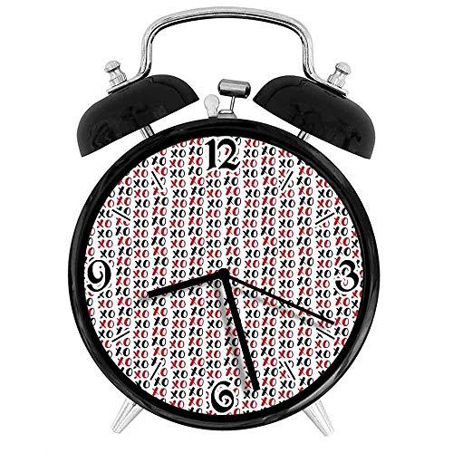 BeeTheOnly Exquisito Reloj Despertador Grungy Calligraphic Hugs Kisses XOXO Lettering Sign Conceptual, Ruby Adecuado para Estudio de Dormitorio de Oficina