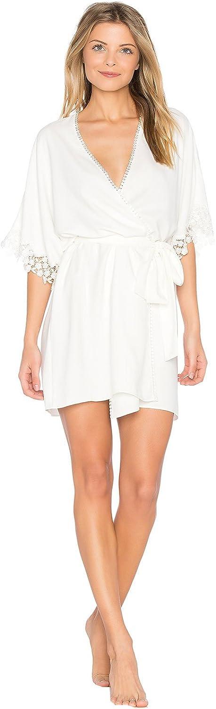 Kelaixiang Short Summer White Women's Bathrobe with Lace Trim