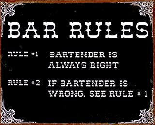 Two Rules of the Bar Metal Sign