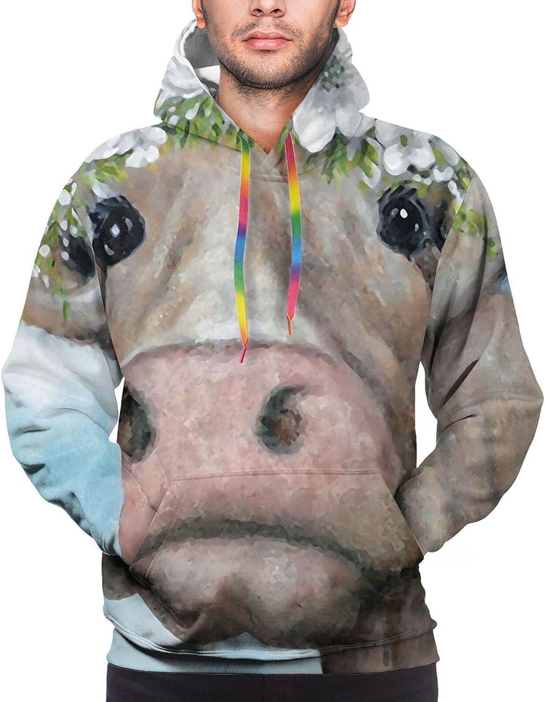Hoodie For Men Women Unisex Colorful Cow Painting Hoodies Fashion Sweatshirt Drawstring