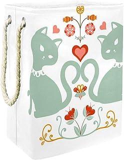 EZIOLY Panier à linge pliable en forme de chat avec poignées et supports détachables et étanche pour organiser les vêtemen...