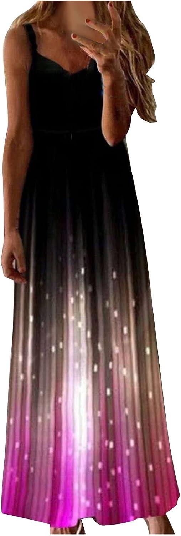 Assletes Ladies Retro Print Long Dress V-Neck Multicolor Long Sexy Sleeveless Dress Casual Long Dress Maxi Dress