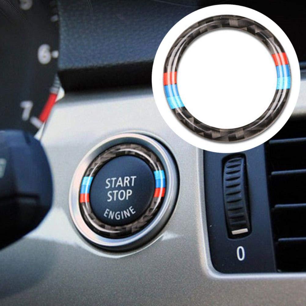 Persiverney Schl/üssel Start Stop Knopf Ring Rahmen Zierkreis Carbon Zierring