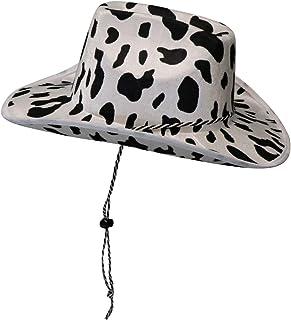 قبعة رعاة البقر - قبعة فن البقرة - للجنسين قبعة رعاة البقر الأسود والأبيض