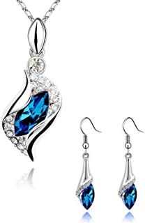 Sukkhi Crystals from Swarovski Platinum Plated Pendant Set for Women and Girls (PS81123)