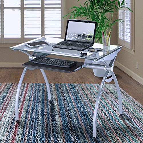 Techni Mobili Contempo Glass Top Computer Desk with Pull Out Keyboard Panel, Clear