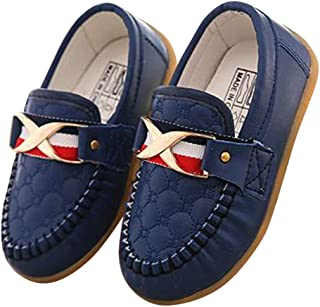 Hopscotch Boys PU Quilted Loafers in Navy Color