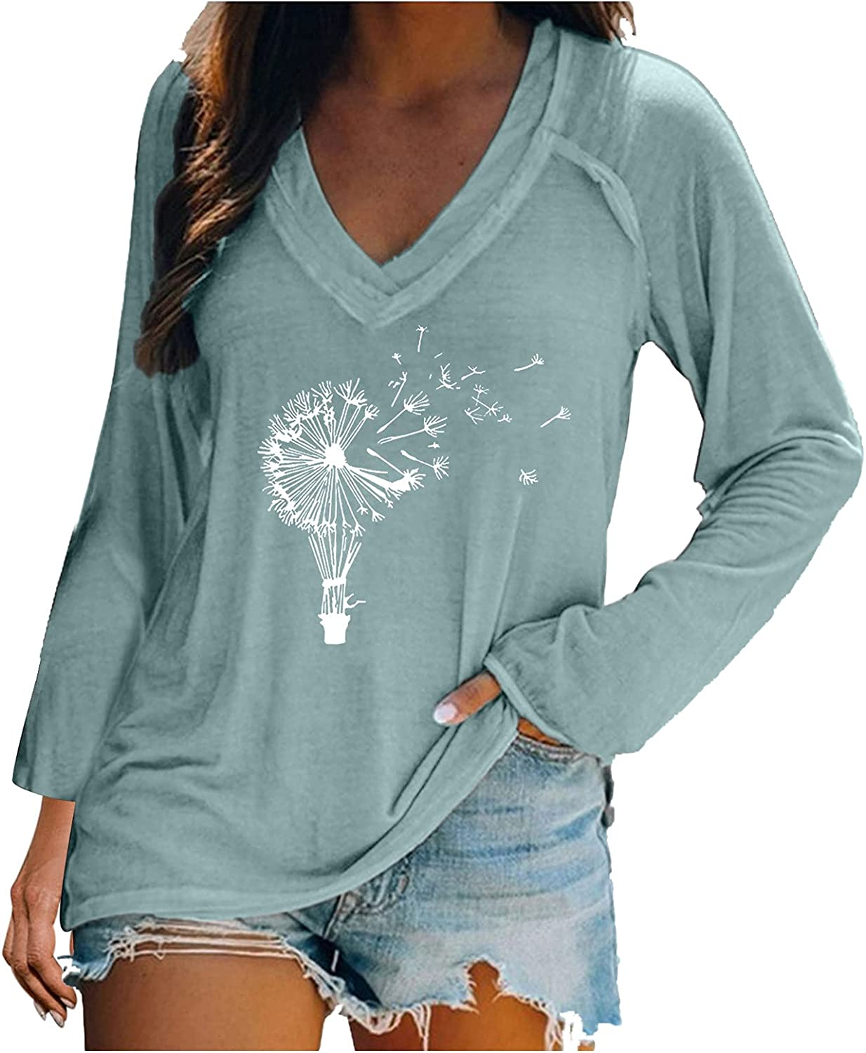 Women Fashion Casual V Neck Long Sleeve Casual Printed Sexy T-Shirt Blouse Tops