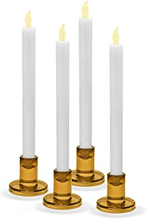 """LampLust Amber Glass Candle Holders, Set of 4 - Round, Golden Yellow, 2.5"""" Height, Fits All Standard Size Taper Candlesticks"""