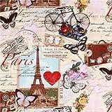 Beiger Vintage Paris Eiffelturm Stoff von Timeless Treasure