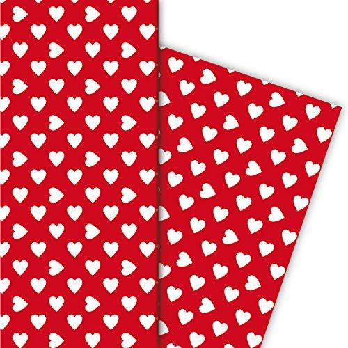 Kartenkaufrausch Romantisches mit großen Herzen Geschenkpapier Set für tolle Geschenk Verpackung, 4 Bögen, 32 x 48cm Dekorpapier, Musterpapier zum Einpacken, basteln, scrapbooking weiß auf rot