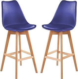 Desayuno Cocina Counter silla BarChair azul Taburetes De Bar Juego De 2 Taburetes De Cuero De PU Con Patas De Madera Maciza Para Taburetes De Cocina Sillas De Bar, Mostrador