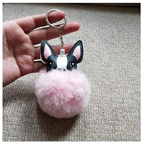 Womens Mens Keychain Cute Fur Pompon Keychains French Bulldog Key Chain Pompom Fluffy Keychain for Women Handbag Plush Keyring Trinket Pink