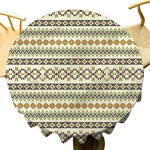Striped Tablecloth Primitive Mayan Art Culture. Outdoor Picnic Table Diameter 62'