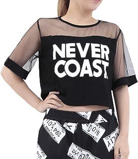[RONDEL-BLACK(ロンデルブラック)]カットソー レディース ショート丈Tシャツ 半袖 黒 ブラック トップス ダンス衣装