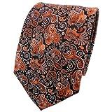 TigerTie Seidenkrawatte rostbraun orange silber schwarz paisley - Krawatte 100% Seide