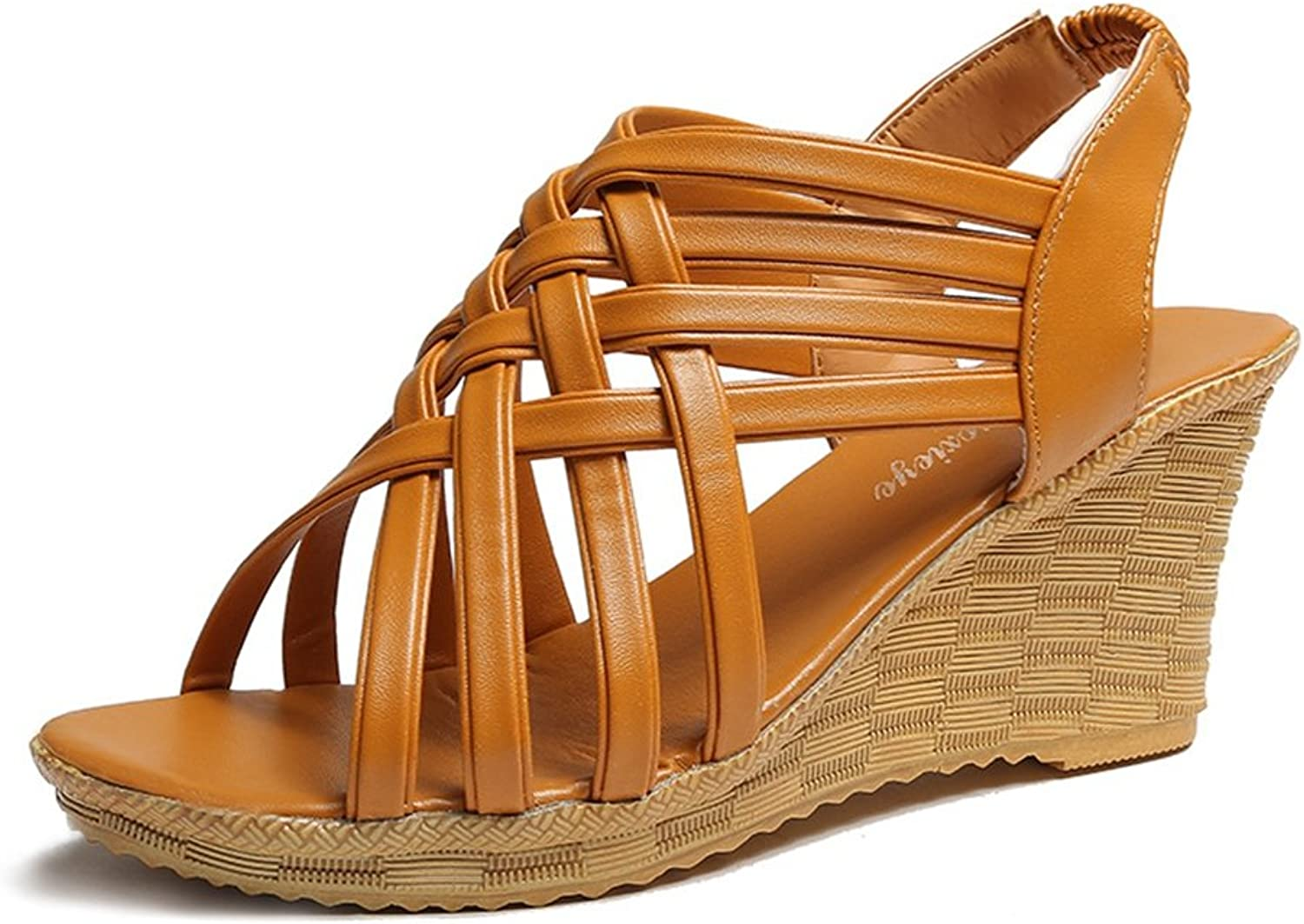 CYBLING Womens Wedge Sandals Leather Criss Cross Strappy Open Toe Roman Sandal shoes