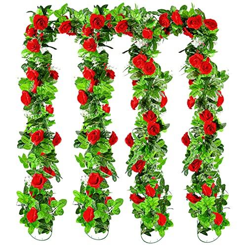 Ulikey Ghirlanda di Rosa Artificiali Fiori , 4 x 240 cm Finte Rose Fiori Ghirlanda di Rose, Ghirlanda Fiori Artificiali, Rosa Artificiale Vite per Nozze Giardino Recinzione Decorazione (RossoB)