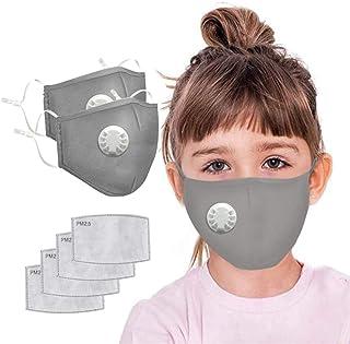 JQjian 2pcs Cotton Face Màsc Bandanas for kids Reusable with valve + 4pcs Activated Carbon Filter Replaceable for Outdoors, Festivals, Sports (Gray)