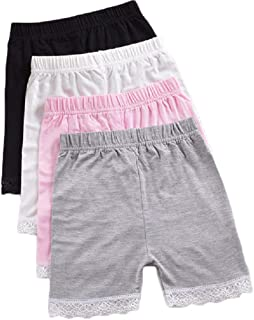 ZEGBALP 4 Packs Girls Cotton Dress Shorts Breathable Dance Bike Shorts