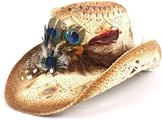 Sun Hat for men and women Women Straw Hollow Western Cowboy Hat Lady Handmade Peacock Feather Sombrero Hombre Beach Cowgirl Jazz Sun Hat Size 56-58CM Adjust