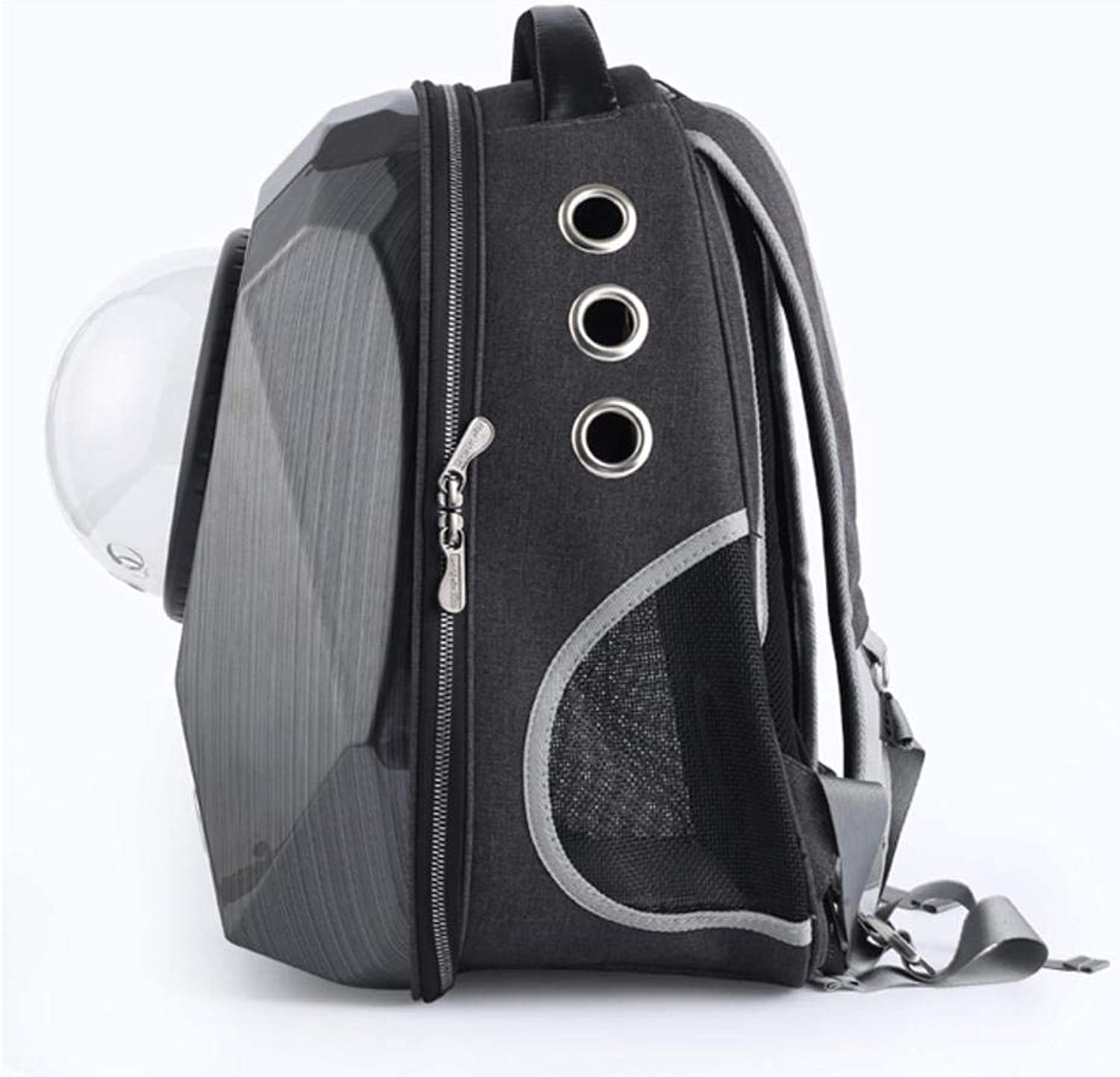 Large Capacity Diamond Space Capsule Pet Carrier Backpack,9 Air Vent Holes Outdoor or Traveler Waterproof Knapsack for Cats Dogs & Petite AnimalsBlack