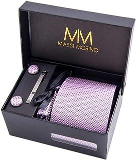 Massi Morino ® Set de corbata Hombre (incluye pañuelo + gemelos + clip de corbata) caja de regalo para hombre