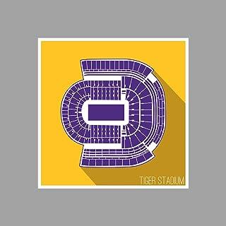 ArtsyCanvas LSU - Tiger Stadium - - College Football Seating Map - 12x12 Matte Poster Print Wall Art