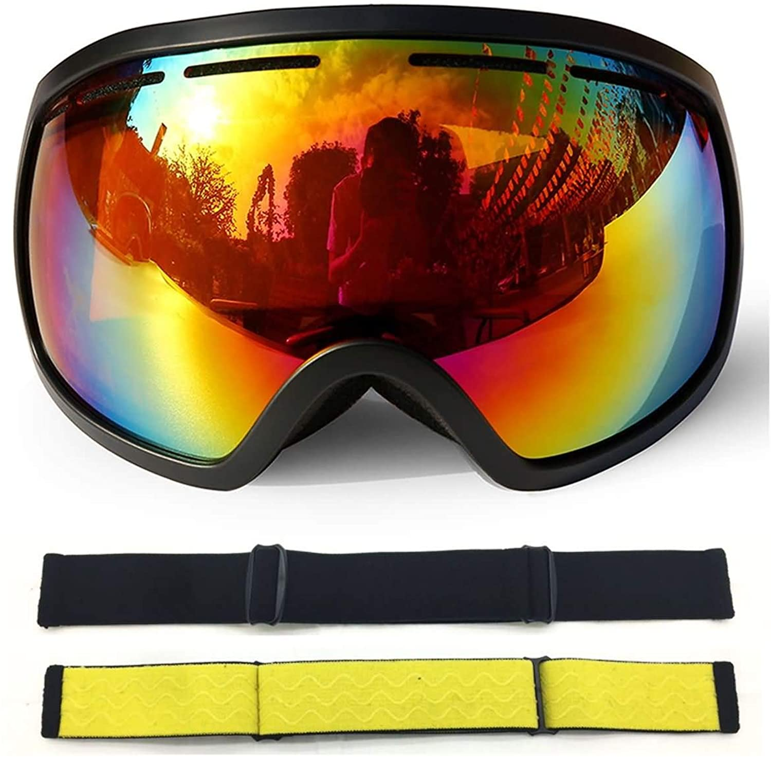 AMDXD TPU+PC Snow Goggles Snowboard Goggles Two Layers AntiFog PC Lens Outdoor Predection (Cocker Myopia Glasses)