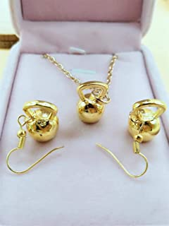 FidgetKute 1 Set of Kettlebell Charm Necklace Kettle Bell Necklace Earring Fitness