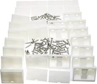 20pcs White L Shape Plastic Corner Bracket with Cover Right Angle Furniture Corner Brace Joint with Countersunk Mounting Screws Hardware Fitting Accessories for Shelf Support 42mm