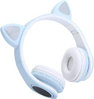 EBTOOLS Wireless Headset with Microphone, LED Cat Portable Bluetooth 5.0 On-Ear Headphones, Noise Reduction, Support Trans...