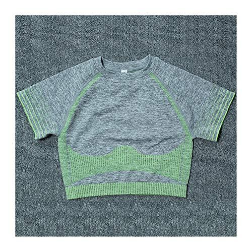 Youpin Sujetador deportivo para mujer, de cintura alta, sin costuras, ropa deportiva, para verano, fitness, yoga, pantalones cortos de moda (color: camiseta verde, tamaño: S)