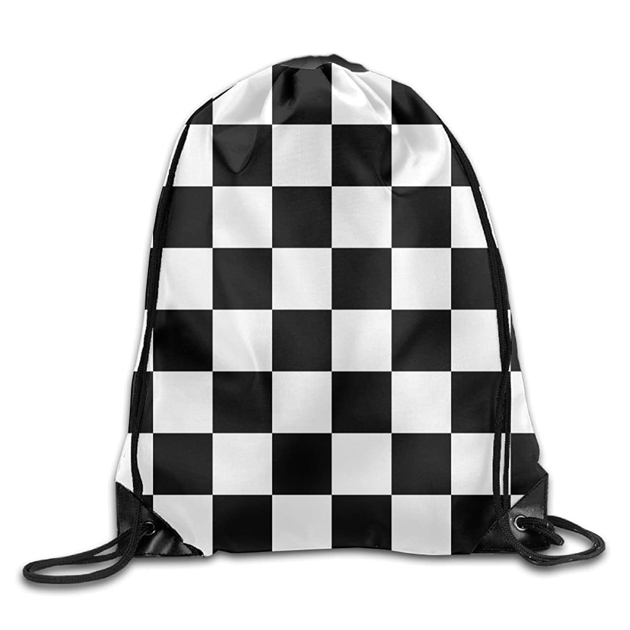 Black White Checkered Pattern3D Print Drawstring Backpack Rucksack Small Shoulder Bags Gym BagPrint Drawstring Backpack