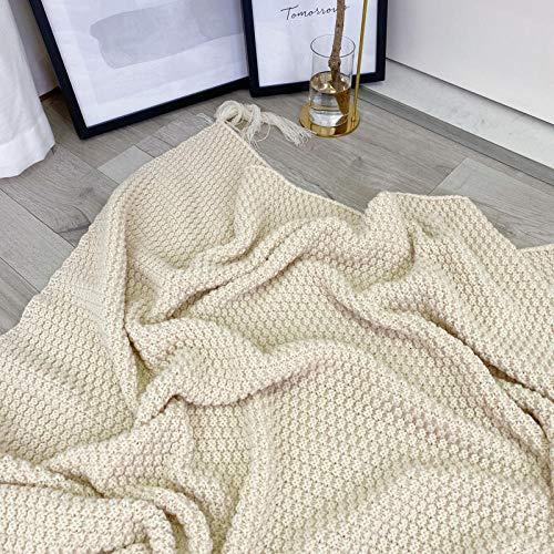 Coperta morbida - tante dimensioni e colori diversi - coperta in microfibra da soggiorno copriletto copri divano - vello in microfibra di flanella -Bianco cremoso_110cmx150cm.