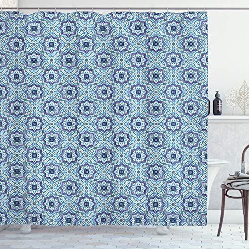 ABAKUHAUS marokkanisch Duschvorhang, Diagonale Klassische Linien, mit 12 Ringe Set Wasserdicht Stielvoll Modern Farbfest & Schimmel Resistent, 175x200 cm, Orange Weiß Blau