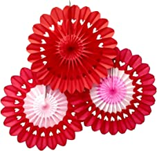 product image for Set of 3 Large 27 Inch Heart Fanburst Fan Decorations for Valentine's Day Backdrop (Red, Red Pink, Red White Pink)