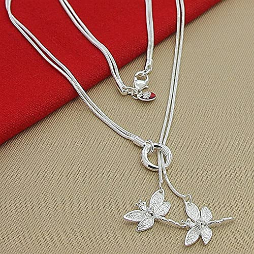 NVTHINH 925 Sterling Silver Two Dragonfly Pendant Chain Necklace Women Snake Wedding Engagement Jewelry