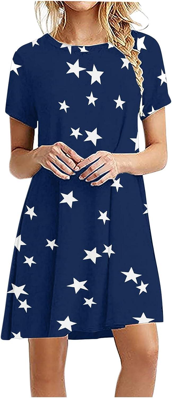 IFOTIME Women Summer Short Sleeve Sunflower Casual Pocket Mini Beach Dress Sundress