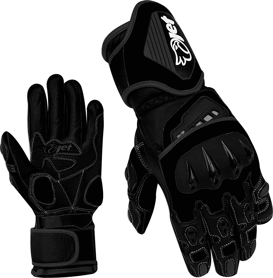 JET Motorcycle Gloves Premium Full Leather Gauntlet Race Hard Knuckle Gloves (Large, Full Black)