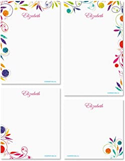 Color Swirl Personalized Notepad Set – Set of 4 100-Sheet Pads, Multiple Sizes, Great for Shopping Lists, Grocery Lists and Personalized Gifts, Printed in the USA, by Current